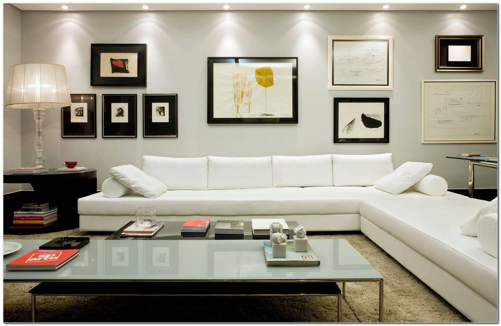 Sala Pequena Decorada Com Sofa Branco