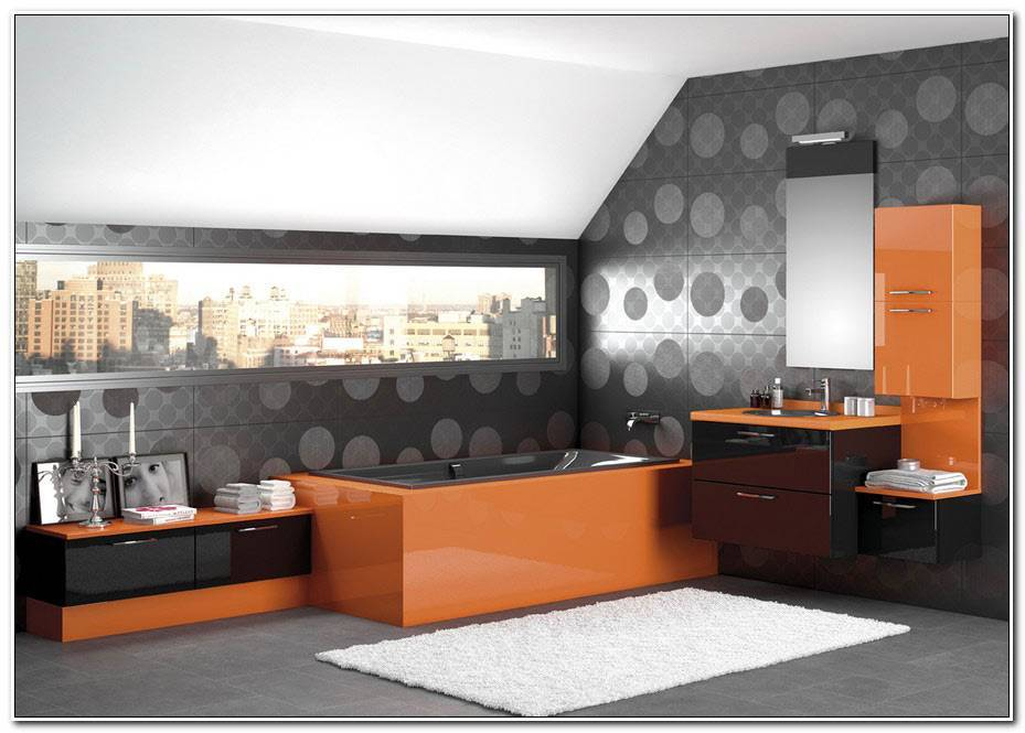 Salle De Bain Orange Et Noir