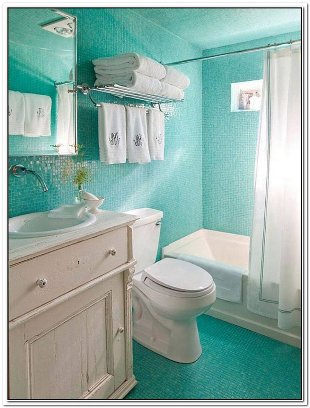 Simple Blue Bathroom Small