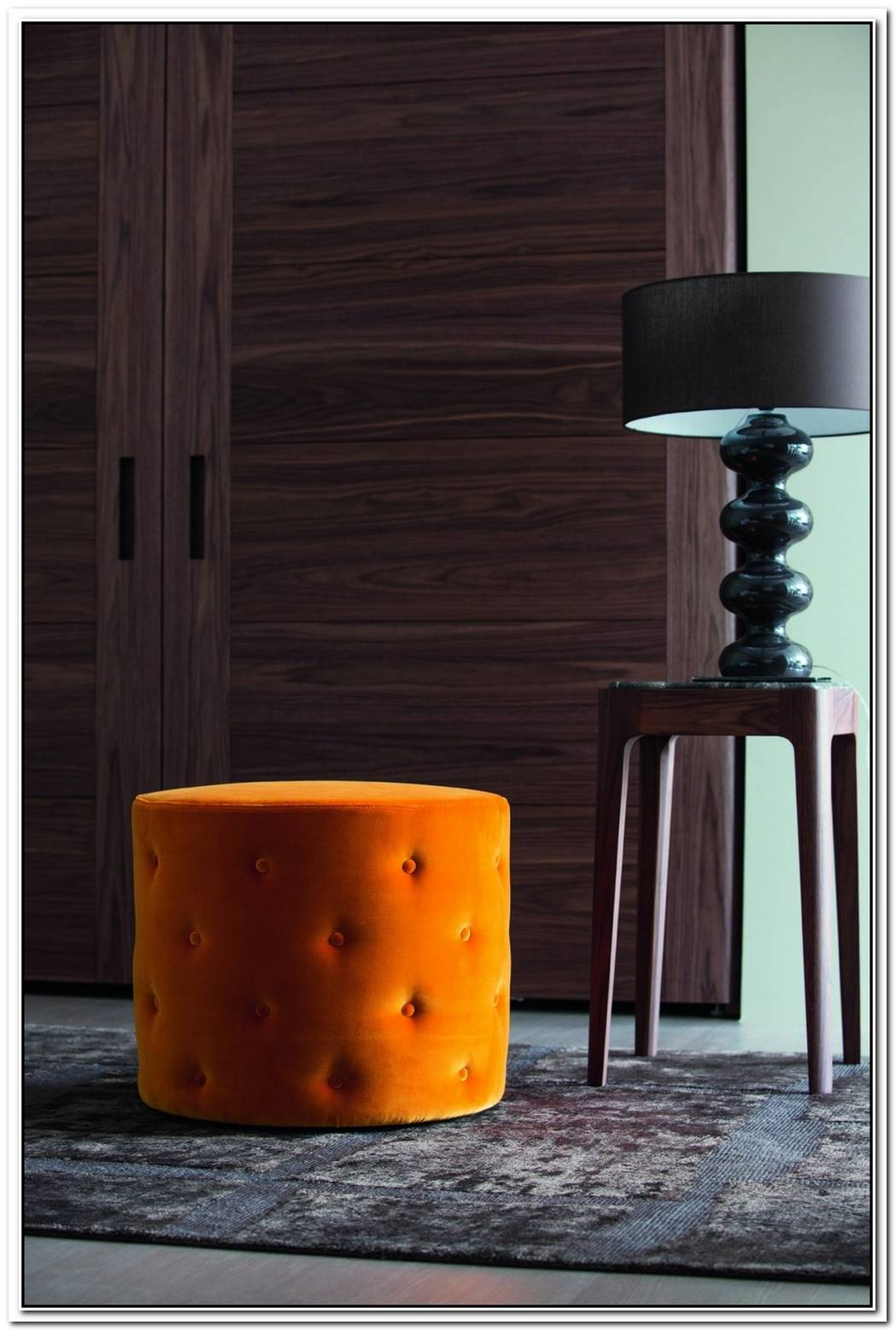 Snap Pouf In Leather And Fabric From Porada