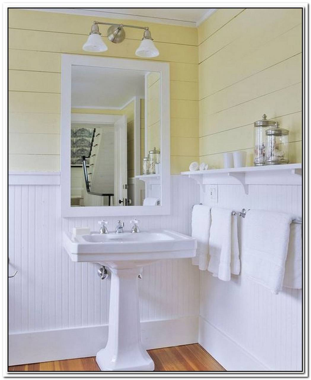 Soft Yellow Bathroom Wainscoting