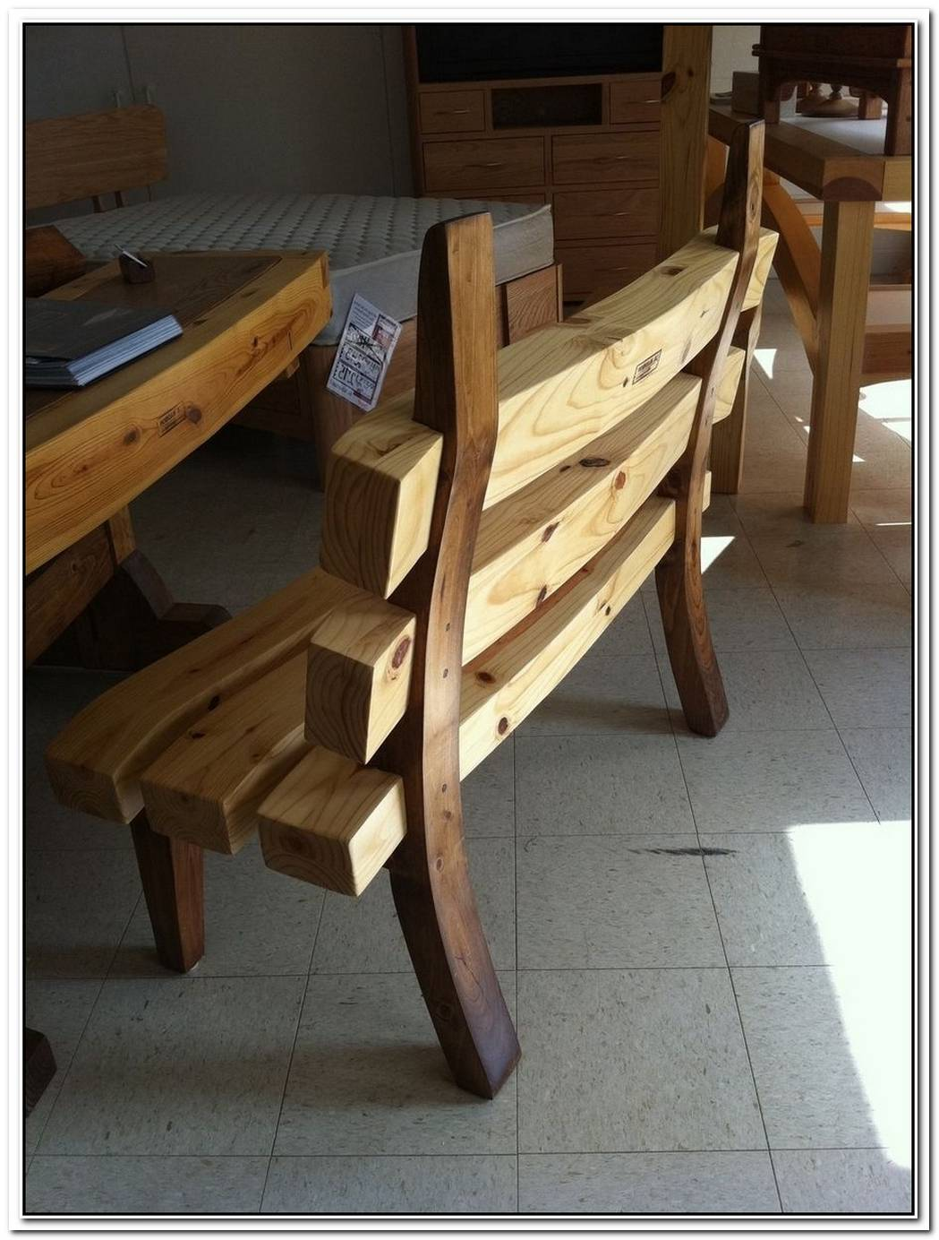 Solid Wave Wood Bench