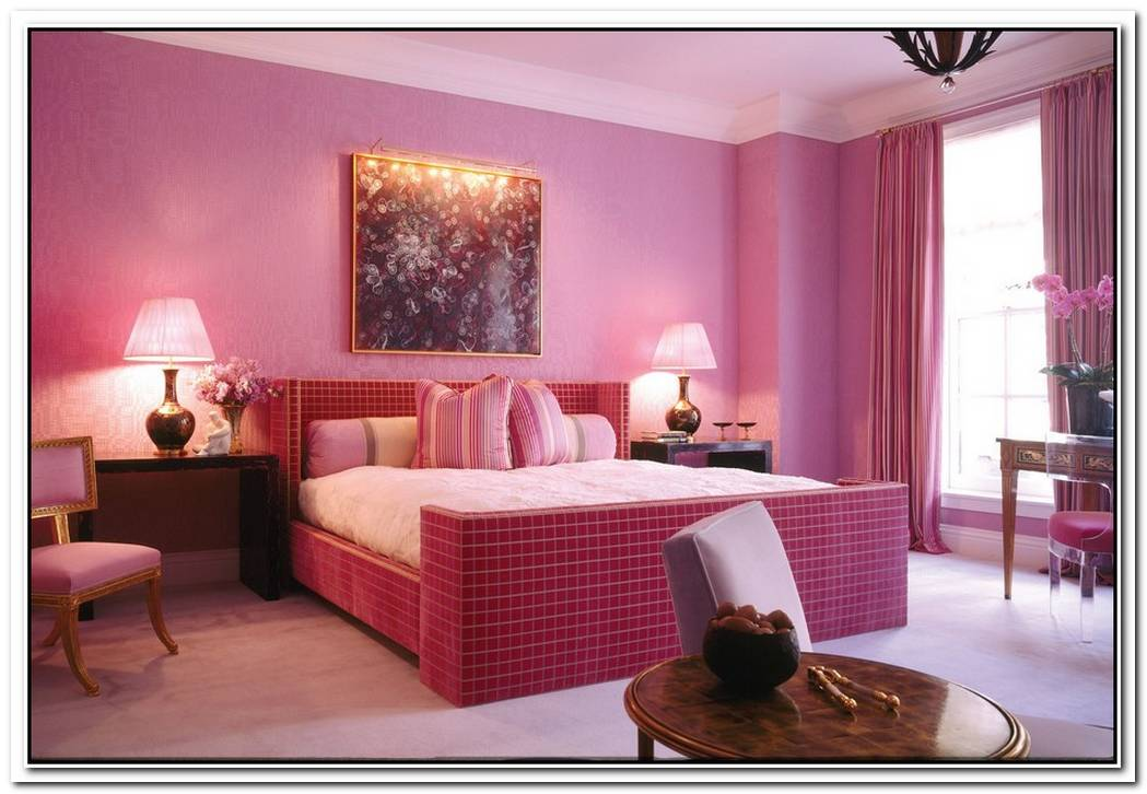 Sophisticated Bedroom With A Pink Interior Design