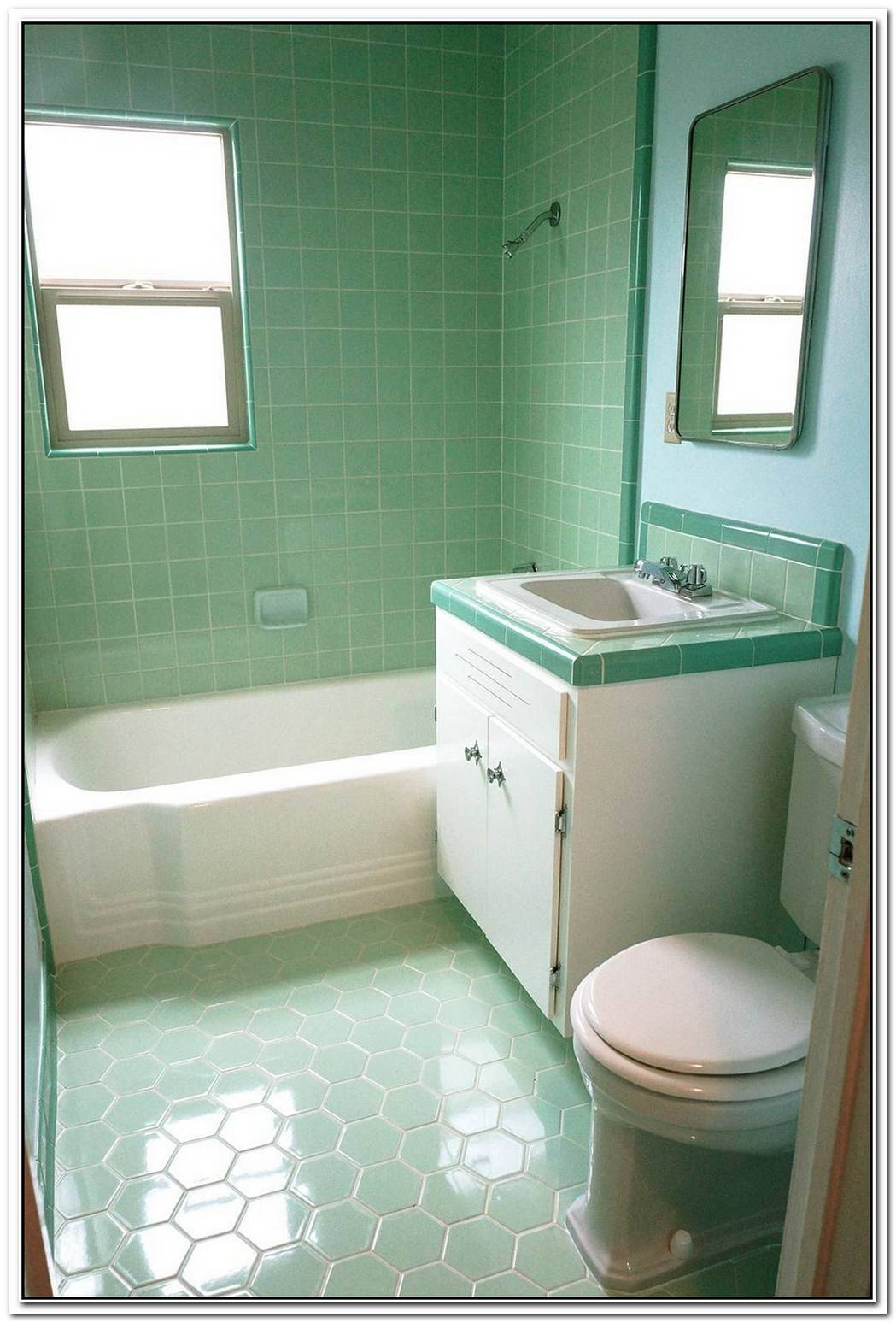 Subway Sea Foam Green Vintage Bathroom