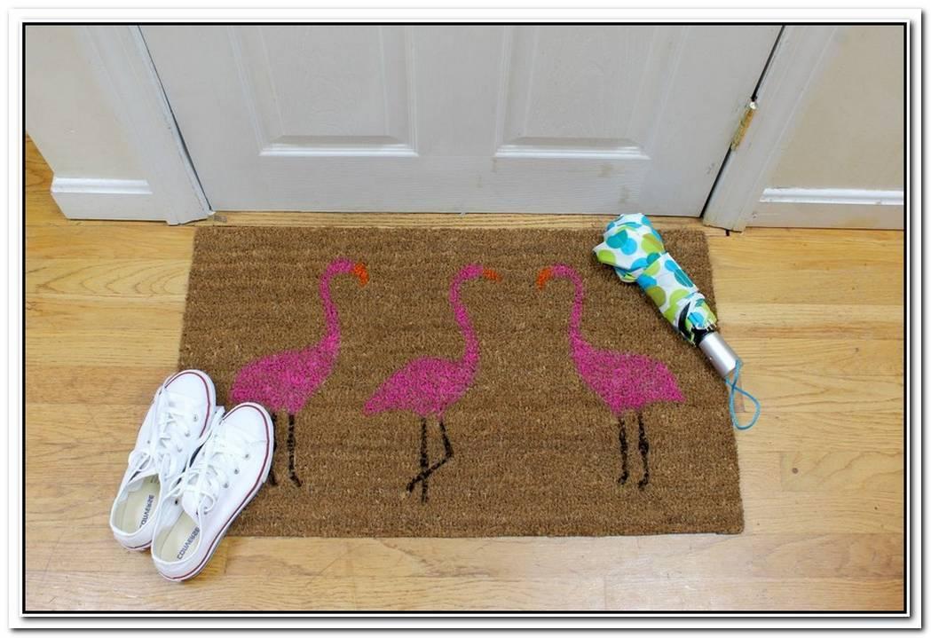 Summer Pink Flamingo Painted Doormat