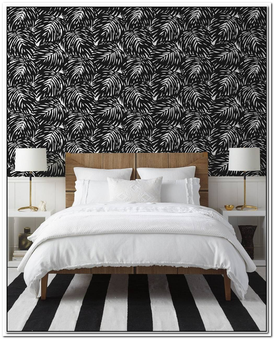 Texture Elevates A Dreamy Black And White Bedroom