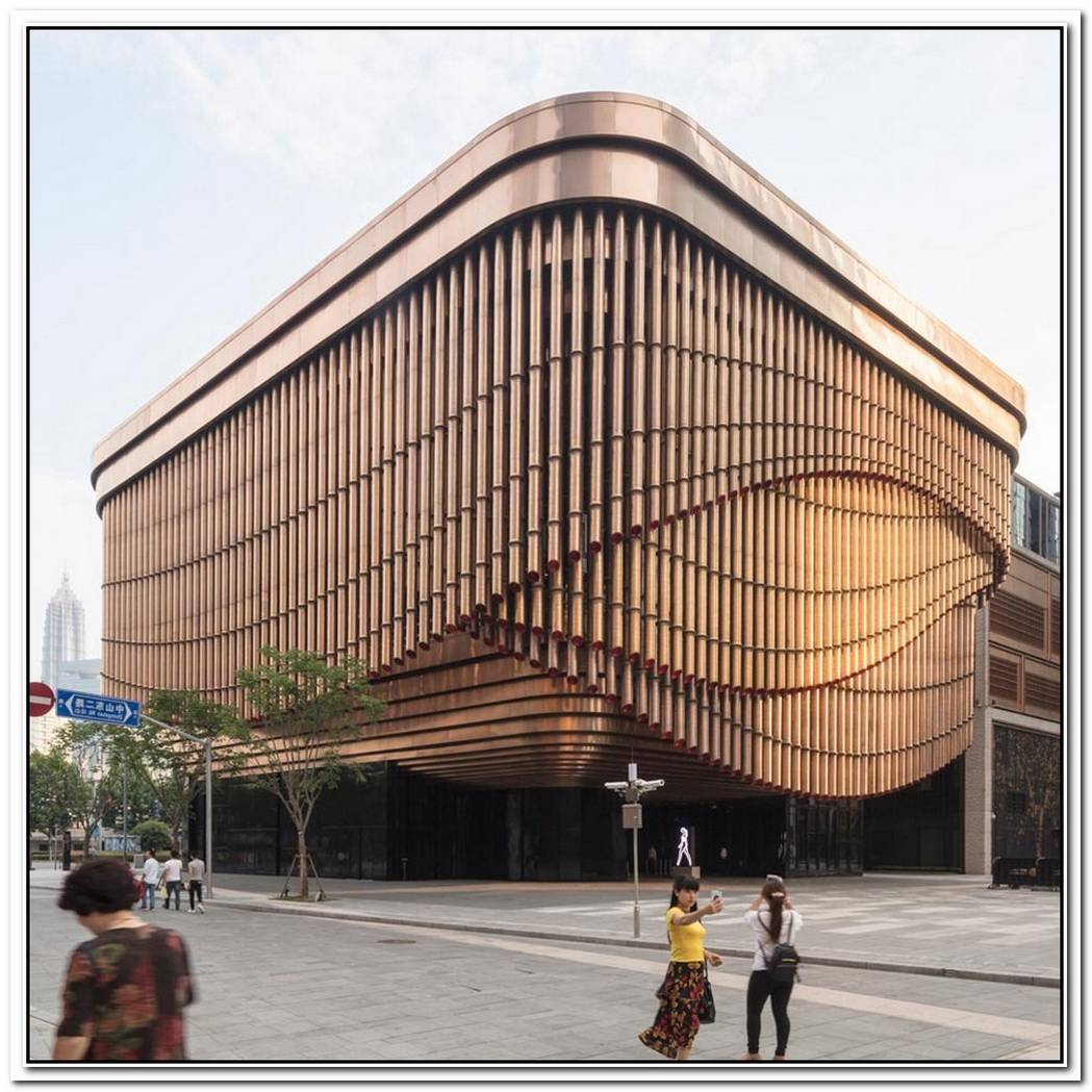 The New Art Centre In Shanghai Has A Facade Made Of Bronze Tubes