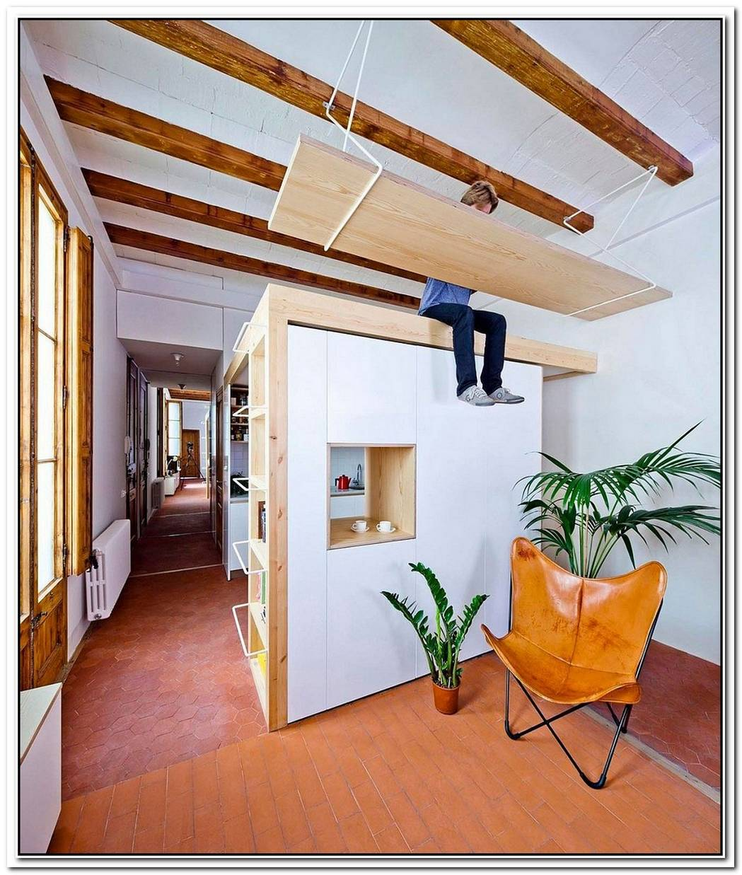 Think VerticalSpaceSavvy Kitchen And Mezzanine In Small Barcelona Apartment