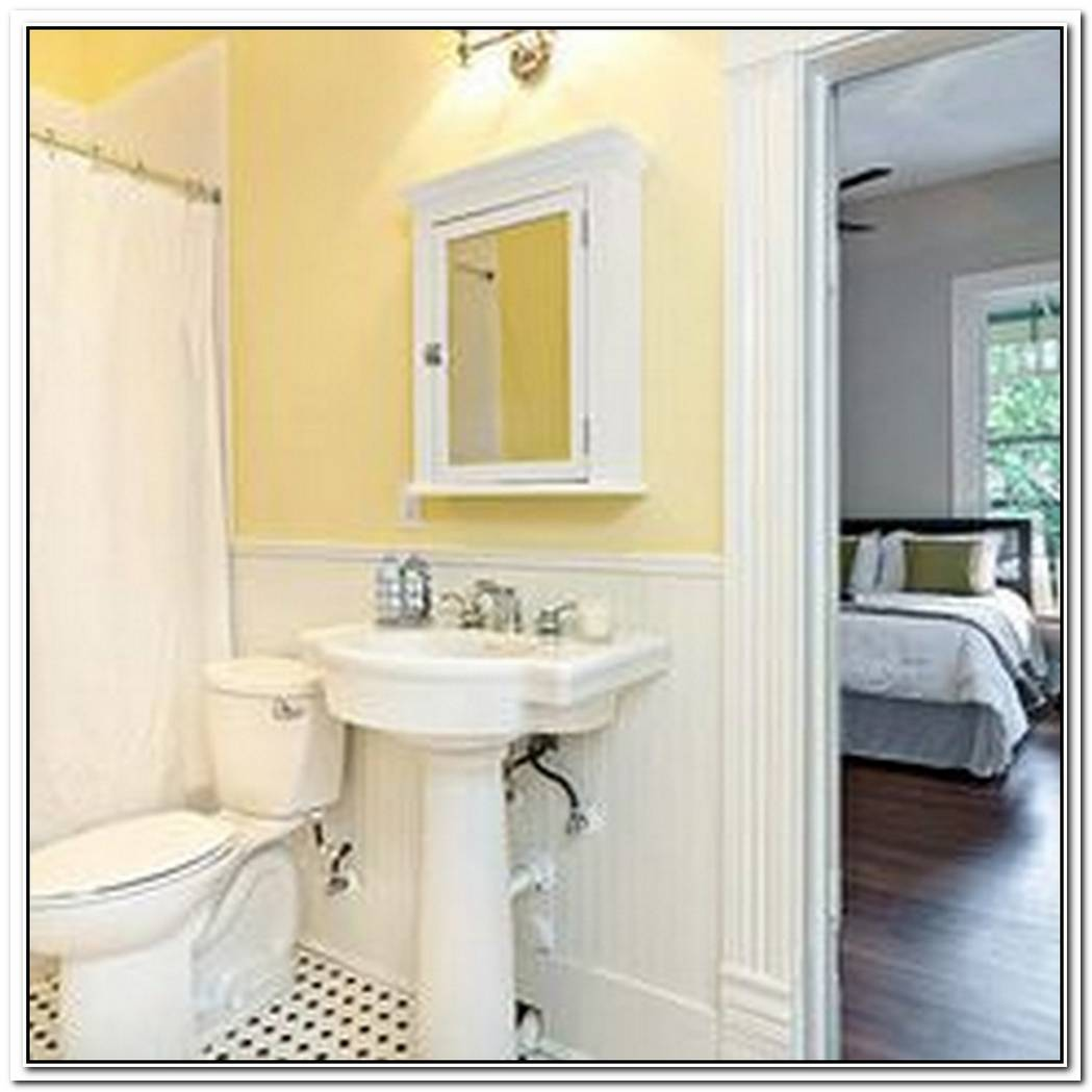 Traditional Bathroom Yellow Gray