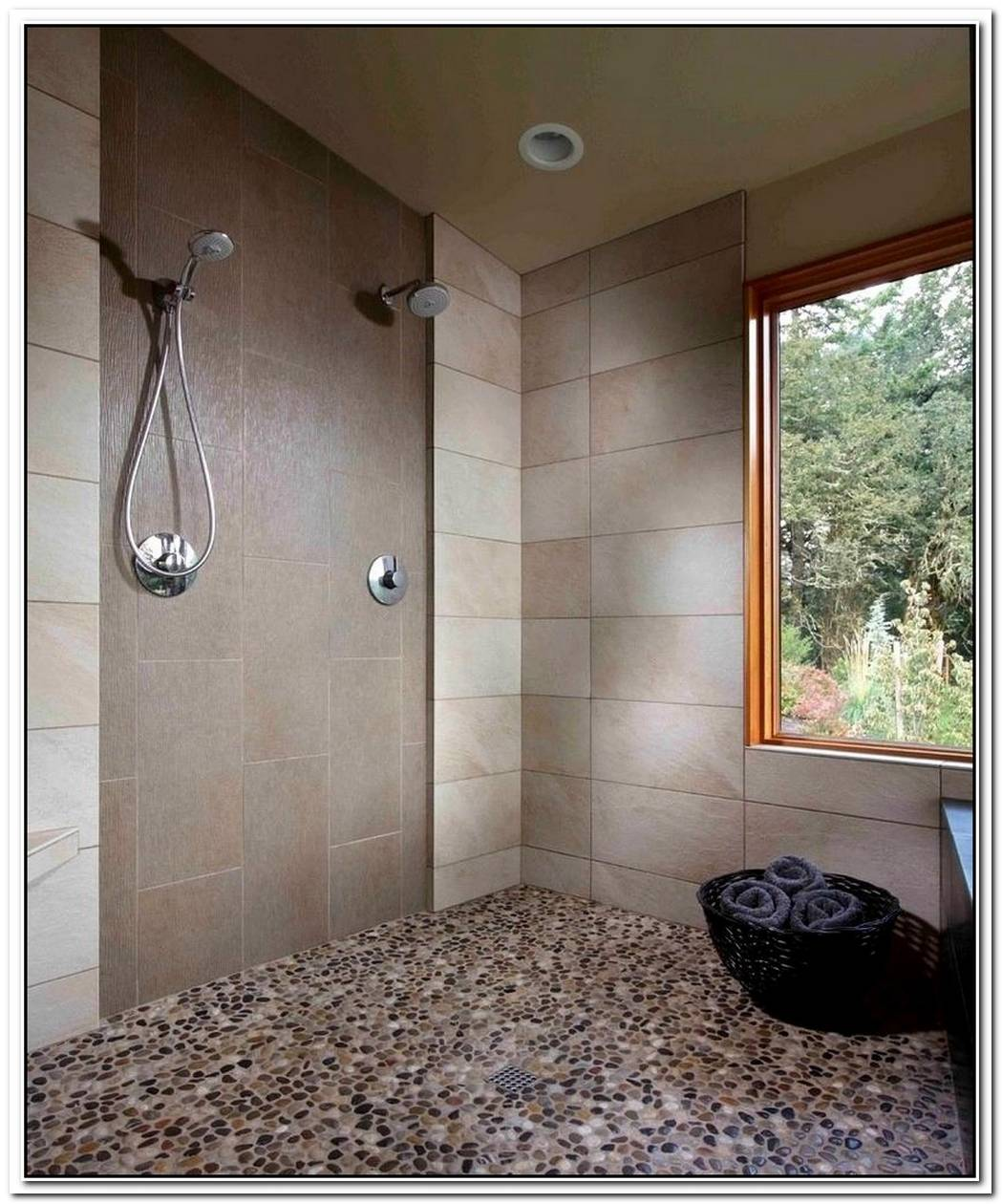 Travertine Bathroom Modern Pebble