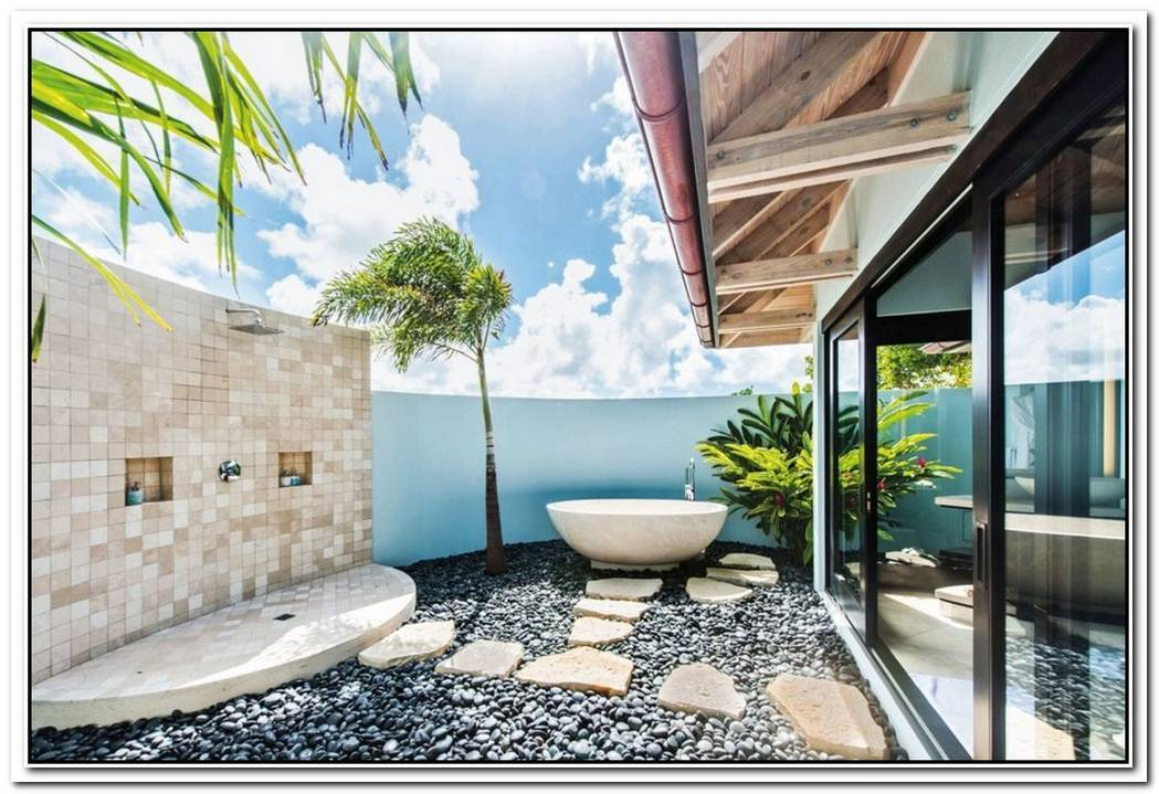 Tropical Hotel Contemporary Bathroom Stone