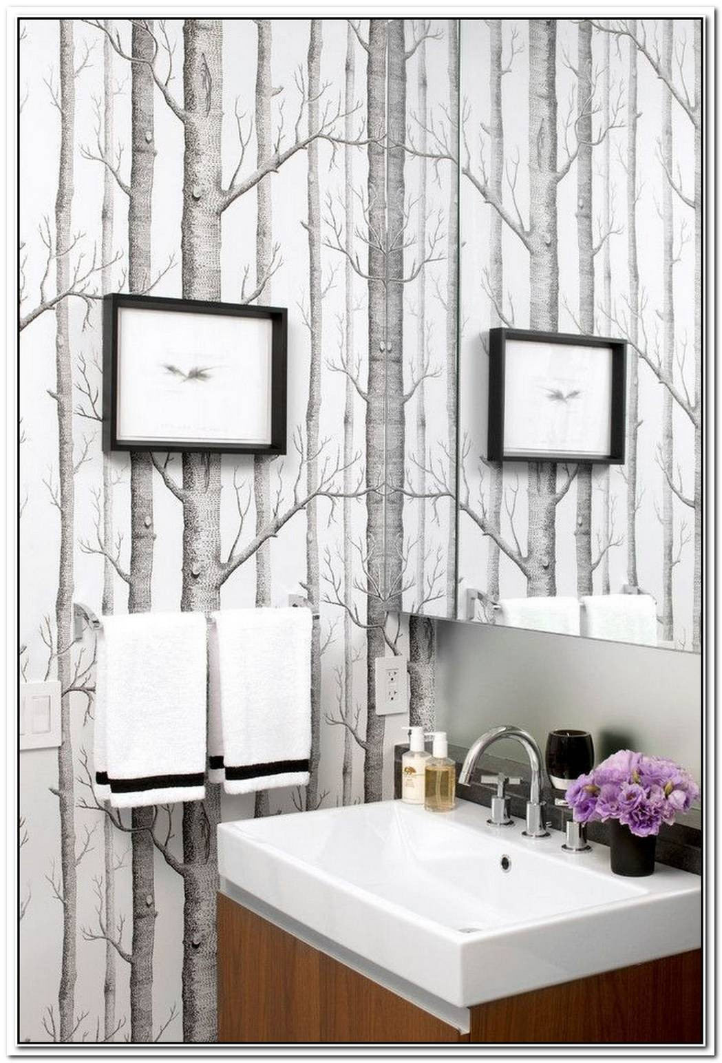 Wallpaper Contemporary Bathroom Wood