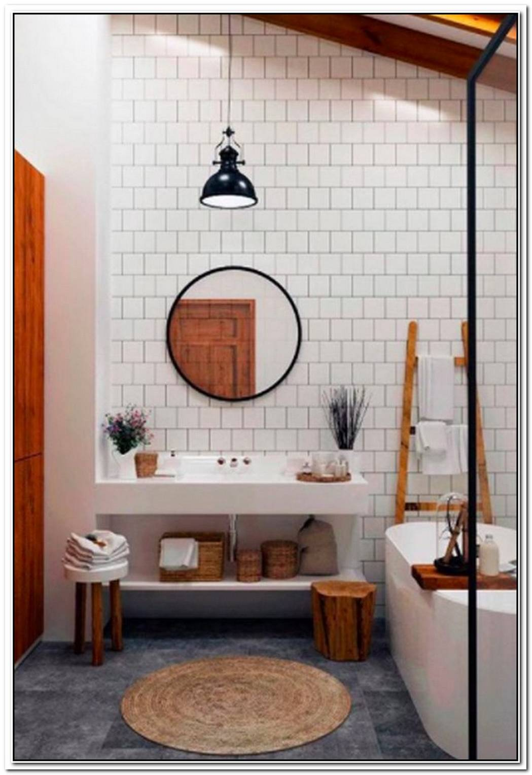 White And Wood Make For A Chic, Homespun Bathroom