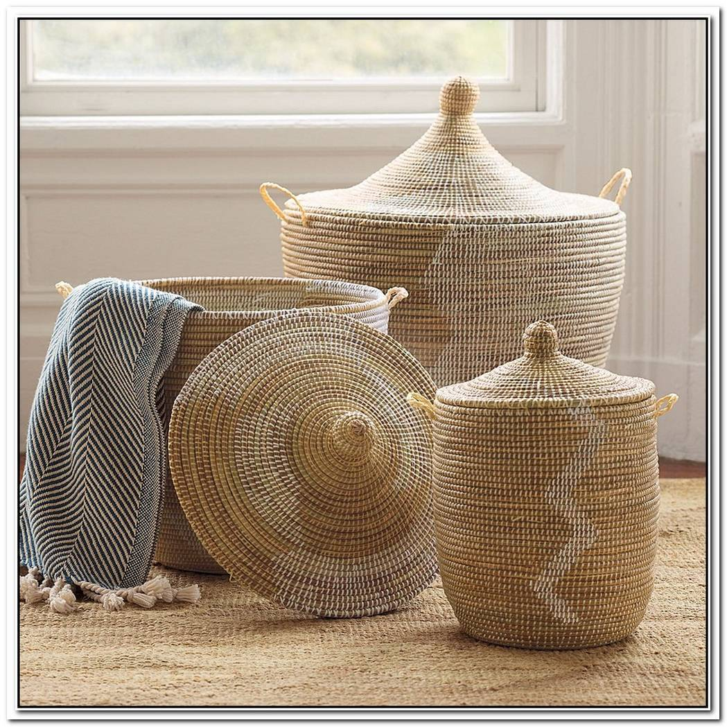White Dipped Barrel Baskets