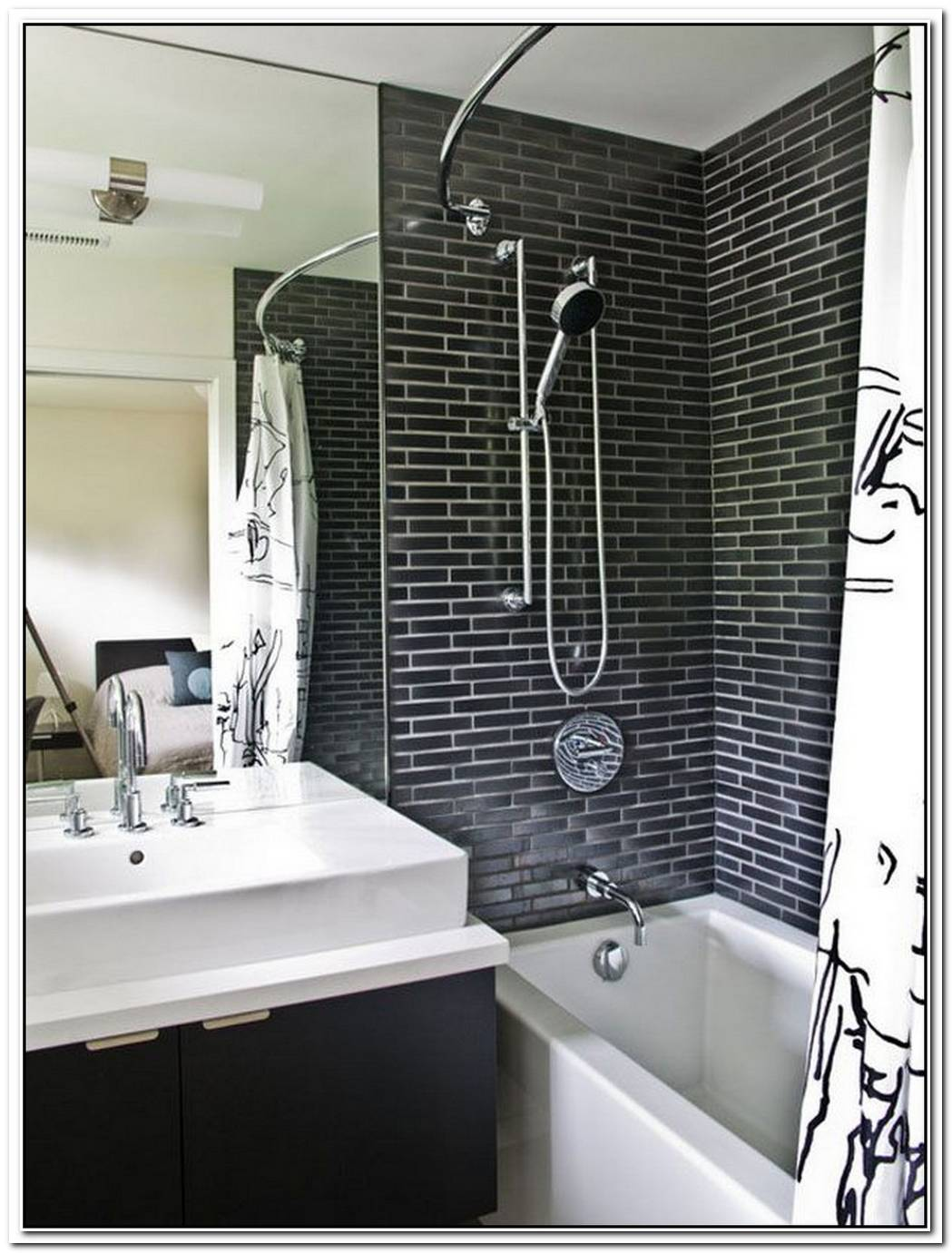 White Tile Contemporary Bathroom Brick