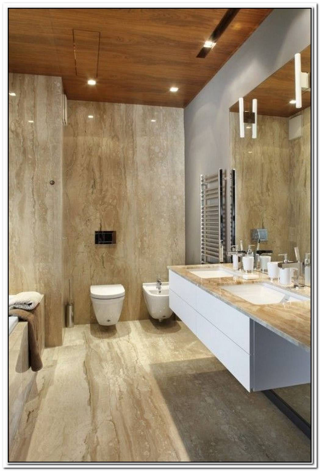 Wood Beige Contemporary Bathroom