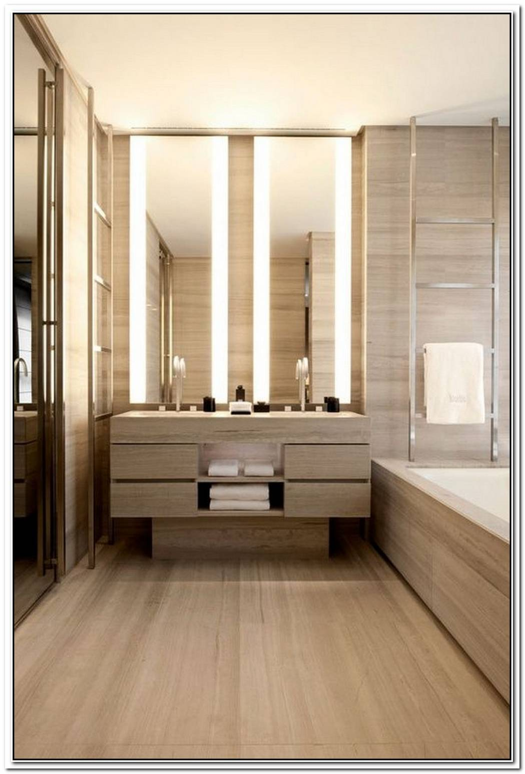 Wood Contemporary Bathroom Hotel