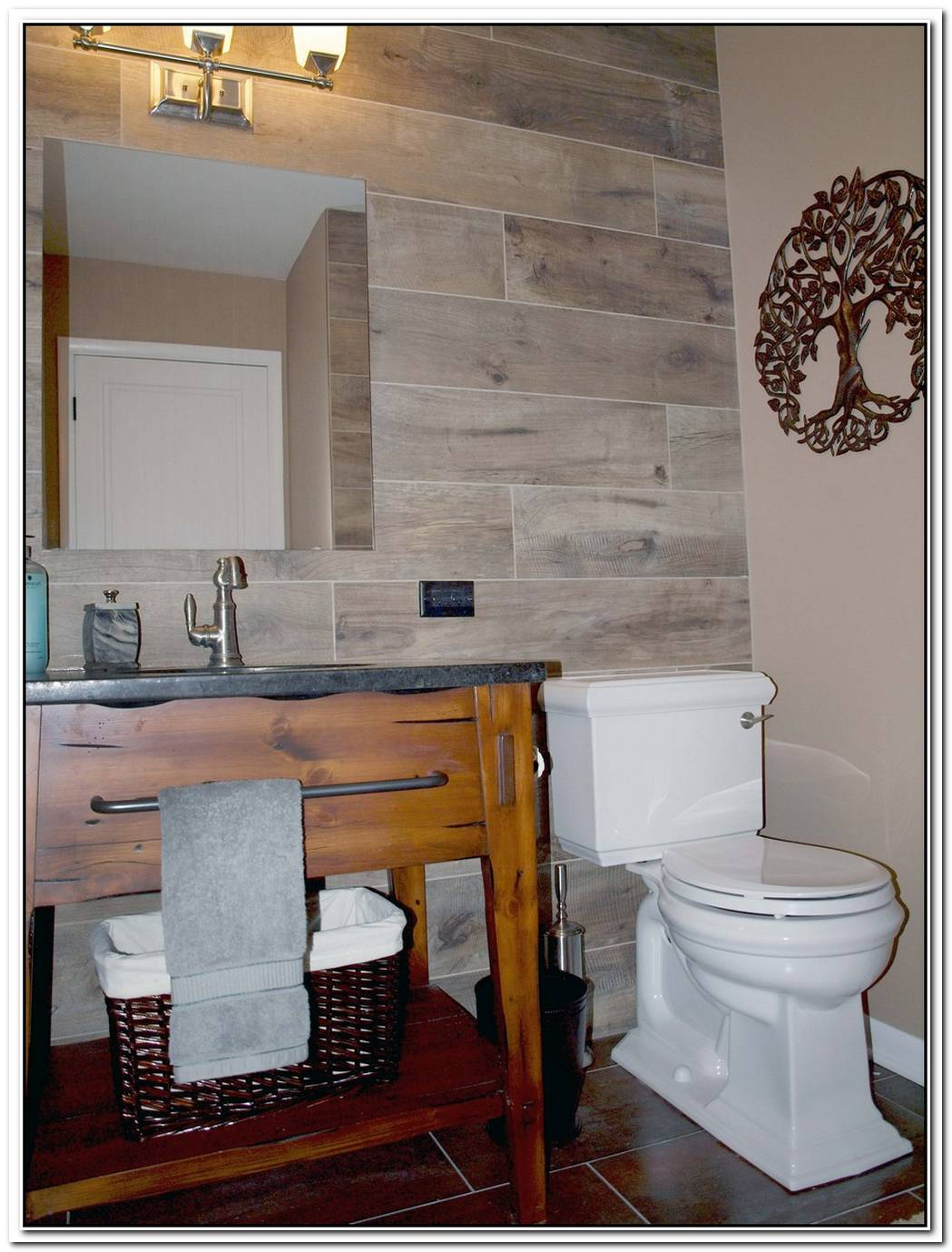 Wood Look Accent Wall Bathroom