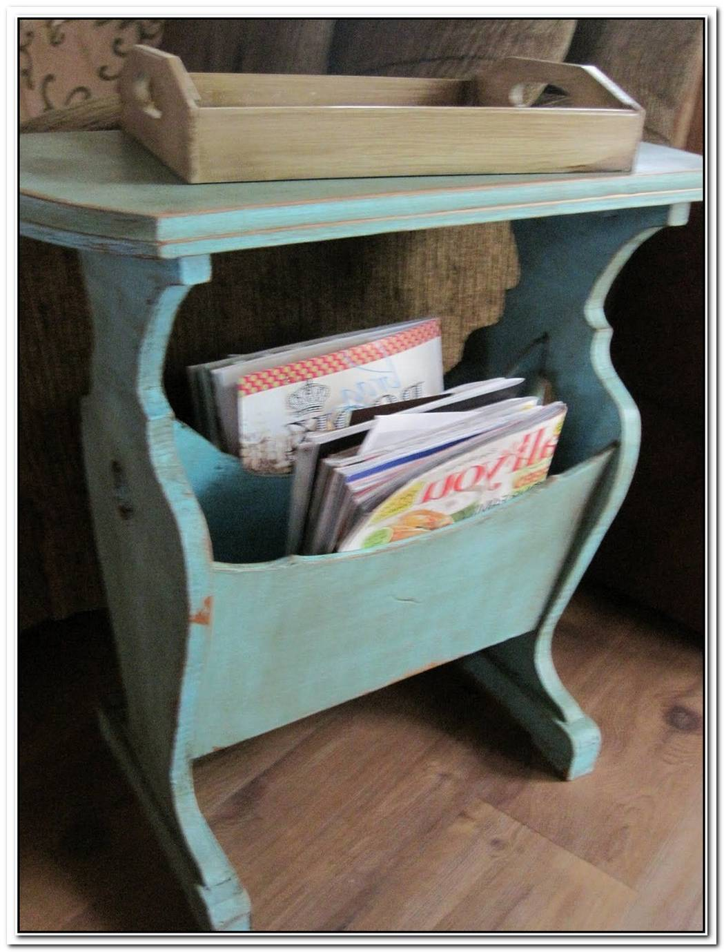 Wood Magazine Rack And End Table