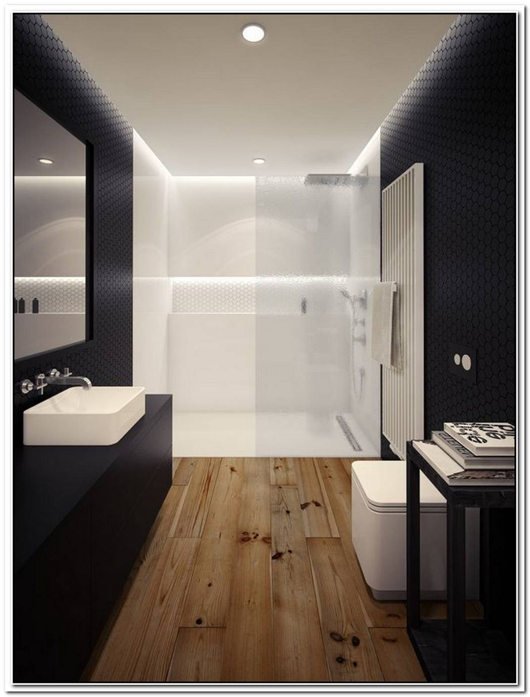 Wood Minimalist Bathroom Loft