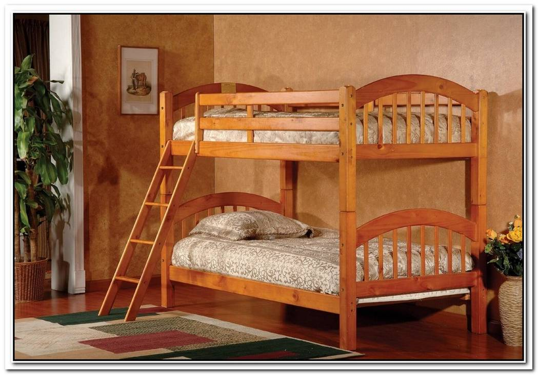 Wooden Bunk Bed With A Simple And Natural Look