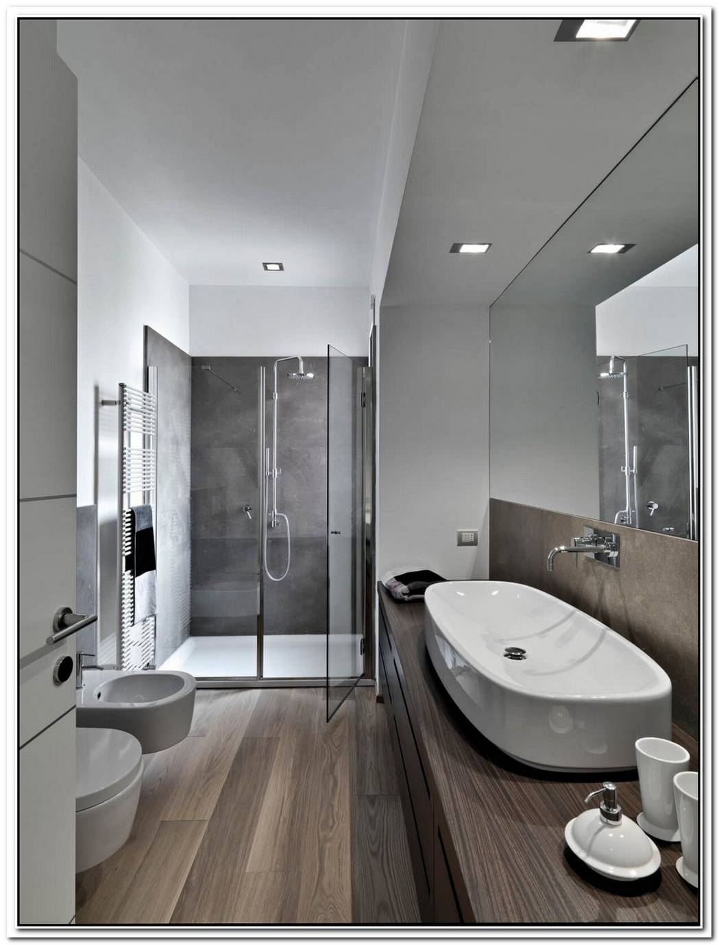 Wooden Floor Contemporary Bathroom Color