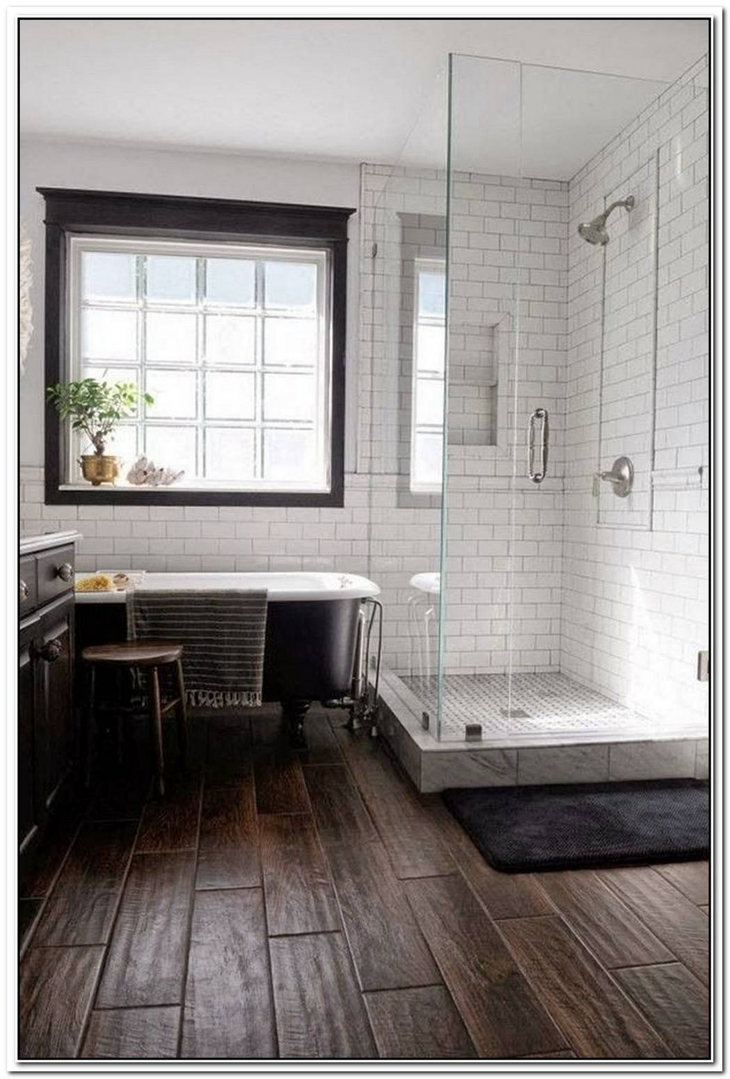 Wooden Floor Contemporary Bathroom Subway Bathroom Tile