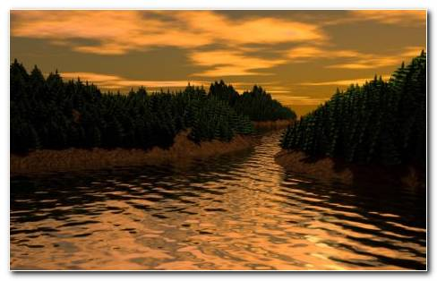 3D River HD Wallpaper