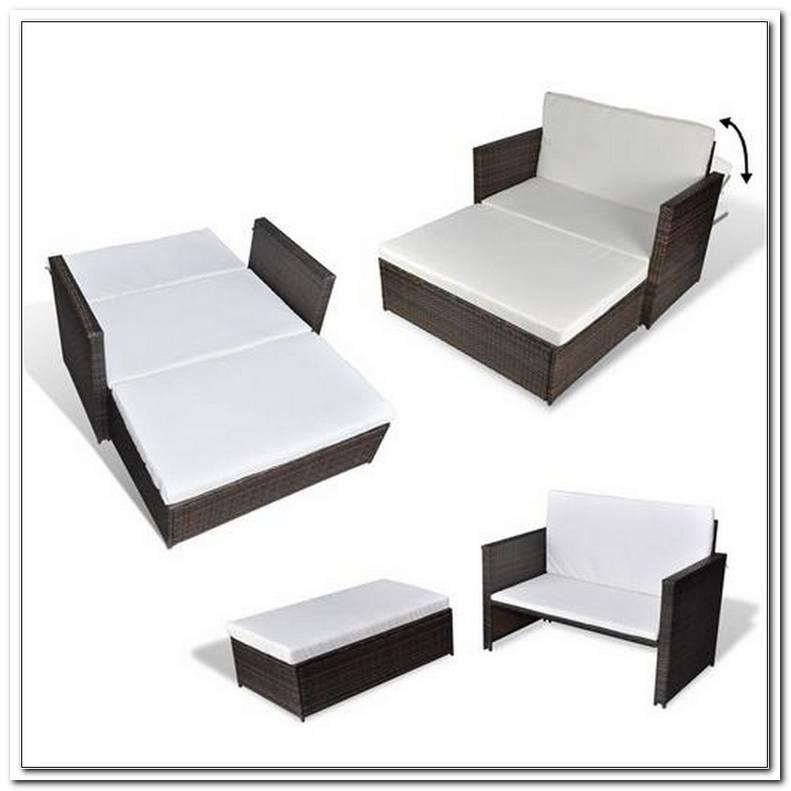 3in1 Rattan Sofabett Sofa Lounge Gartengarnitur Gartenliege Klappbar
