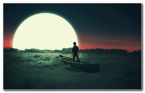 A Boy On Boat In Ocean Confronting Moon. Silhouette Design