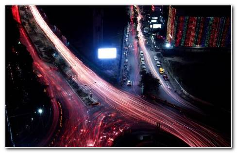 Aerial View Of City Roads & Traffic. Long Exposure Shots