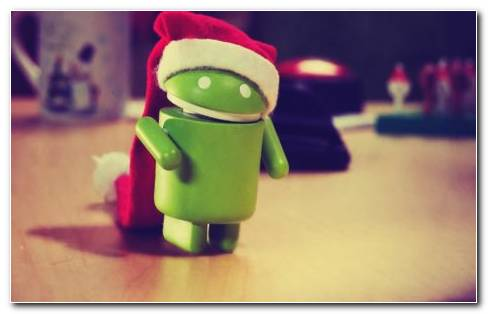 Android With Santa Hat HD Wallpaper