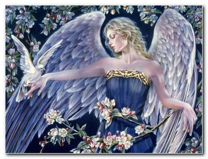 Angels Fantasy Girls Angel Girl Dove Bird Doves Mood Wallpaper