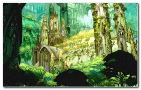 Animated Or Artistic Castle In A Fictional Forest