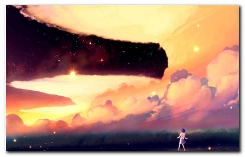 Anime Sunset HD Wallpaper