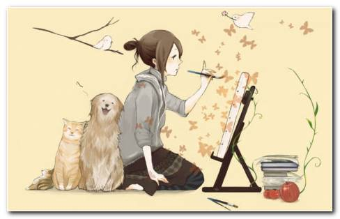 Artist Girl Painting HD Wallpaper