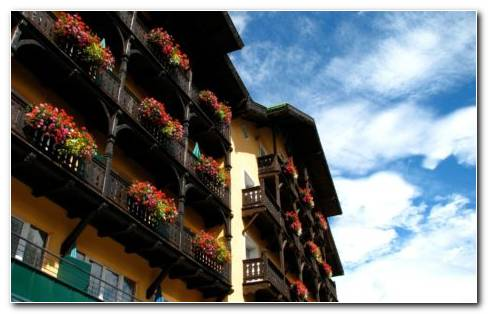 Balconies Full Of Flowers HD Wallpaper