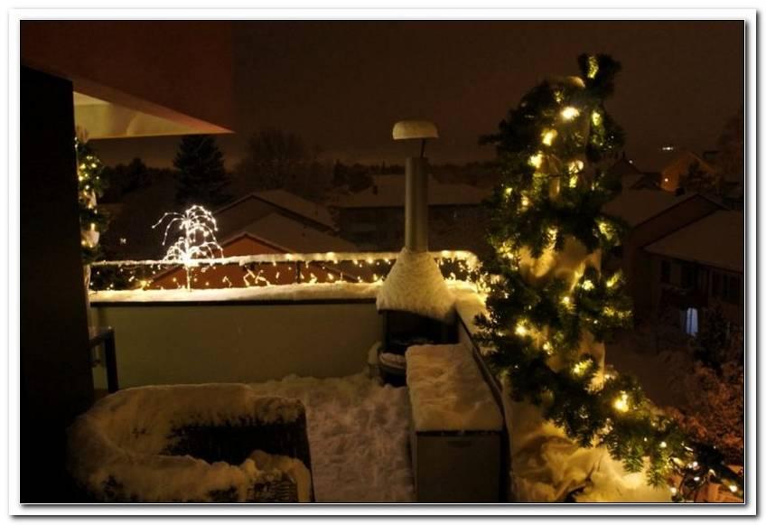 Balkon Beleuchtung Winter