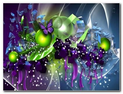Balls And Butterfly HD Wallpaper
