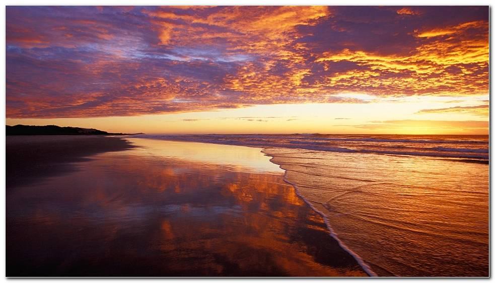 Beach Sunset Nature Wallpaper Background