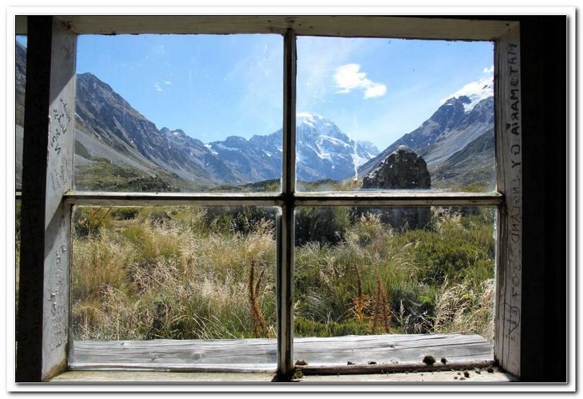 Bild Blick Durchs Fenster Berge