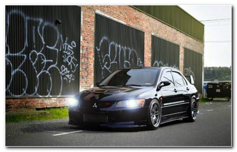 Black Mitsubishi Lancer Evolution HD Wallpaper