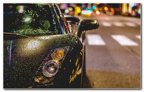 Black Car With Rain Drops HD Wallpaper