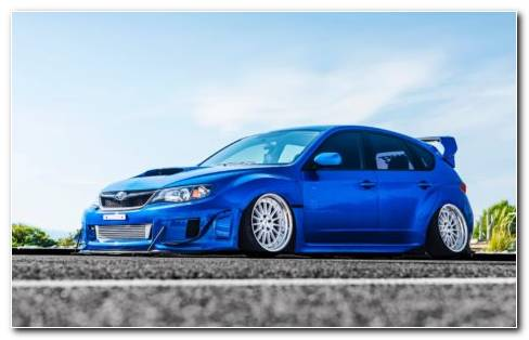 Blue Subaru STI Car