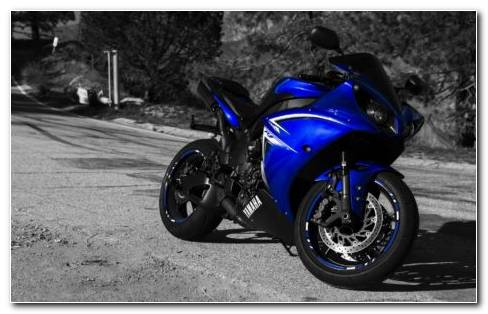 Blue Yamaha R1 Standing On Road