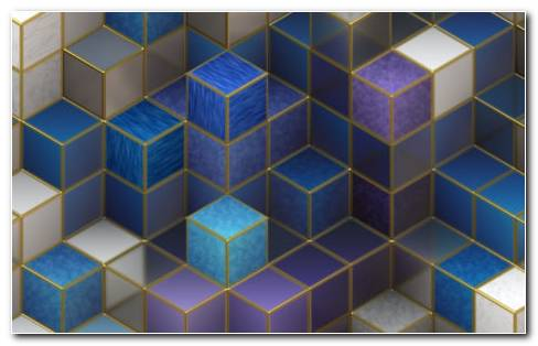 Blue and white cubic toys HD wallpaper