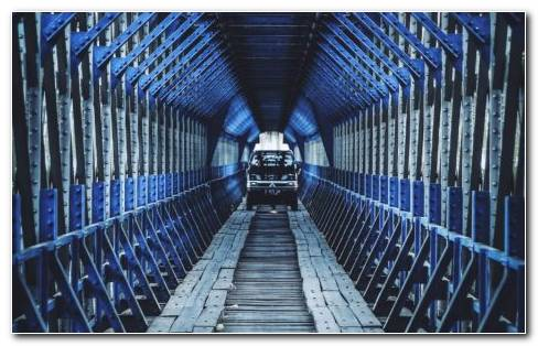 Blue bridge HD wallpaper