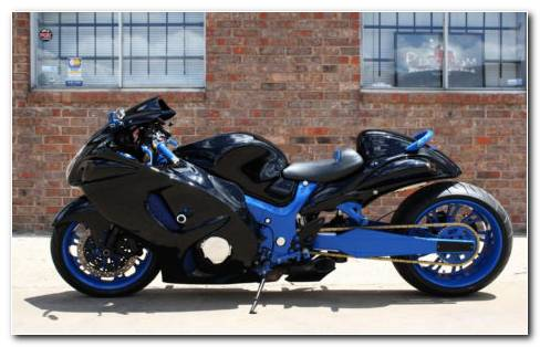 Blue modified bike HD wallpaper
