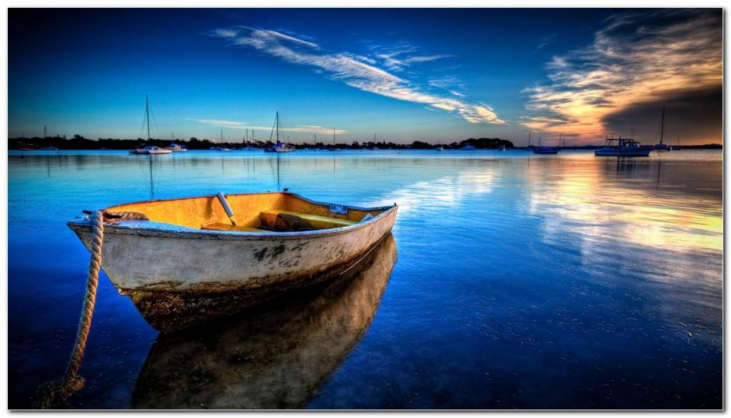 Boat At Sunset Nature Wallpaper Background