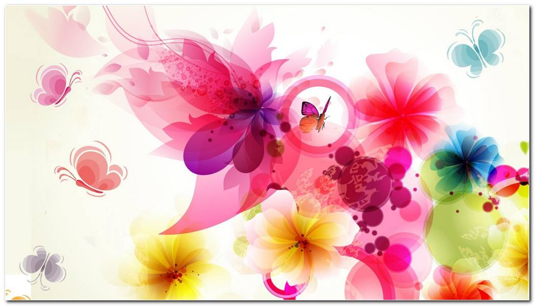 Butterflies Adore Flowers Colorful Background Wallpaper